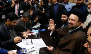 Hassan Khomeini registering his candidacy for the assembly of experts election in Tehran