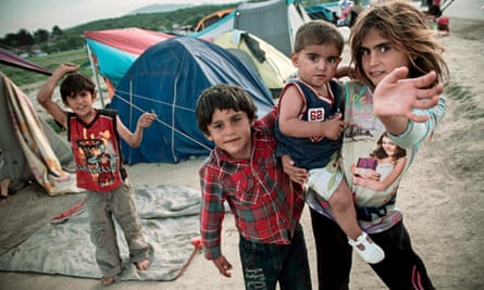 Children at the Idomeni refugee camp in Greece.
