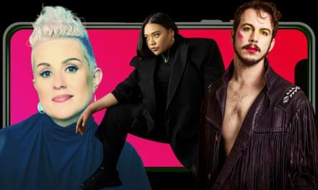 Australian music artists Katie Noonan, Kira Puru and Brendan Maclean.