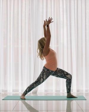 Jemma Ralston practicing yoga.