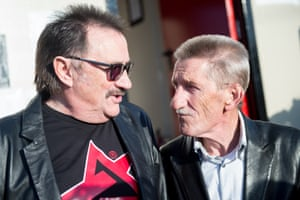 The Chuckle Brothers backstage at Bestival, Newport, Isle of Wight, 2015