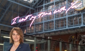 Tracey Emin in front of her installation at St Pancras Station in London.