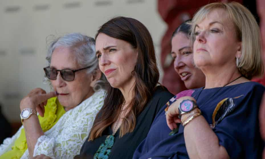 New Zealand prime minister Jacinda Ardern (centre) with opposition National party leader Judith Collins (right).