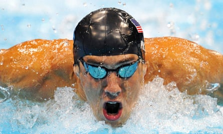 Michael Phelps in action in the mens 200m butterfly final in London 2012.