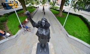 The sculpture of BLM activist Jen Reid on the Bristol plinth previously occupied by slaver Edward Colston.