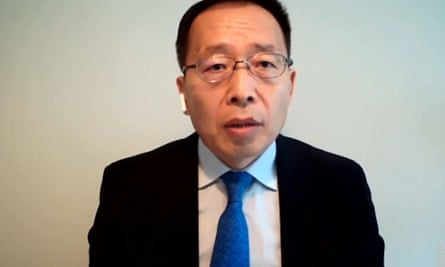 Huawei vice president, Victor Zhang, gives evidence to the Science and Technology Select Committee in July 2020.