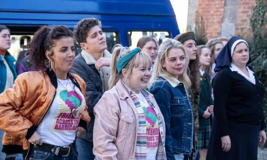 The Derry Girls (Michelle, James, Clare, Erin and Orla) with Sister Michael in series two.