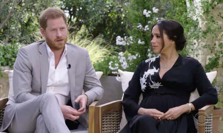 Prince Harry and Meghan during the interview with Oprah Winfrey.