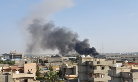Smoke billows after an airstrike by forces loyal to Khalifa Haftar on Tajoura, south of the Libyan capital, last week.