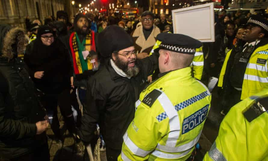Protesters against the deportations of people to Jamaica by charter flights, outside Downing Street earlier this week.