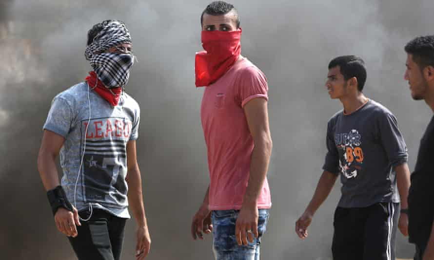 Palestinian protesters during clashes with Israeli security forces near Gaza City on Saturday