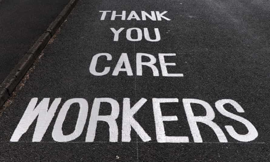 Road markings thanking care workers are seen outside Oakridge House care home on May 20, 2020 in Basingstoke, England