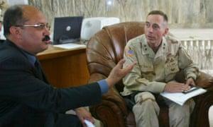 Mishan al-Jabouri with Major General David Petraeus in 2003.