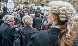 Lawyers and barristers protest against legal aid cuts, London 2014