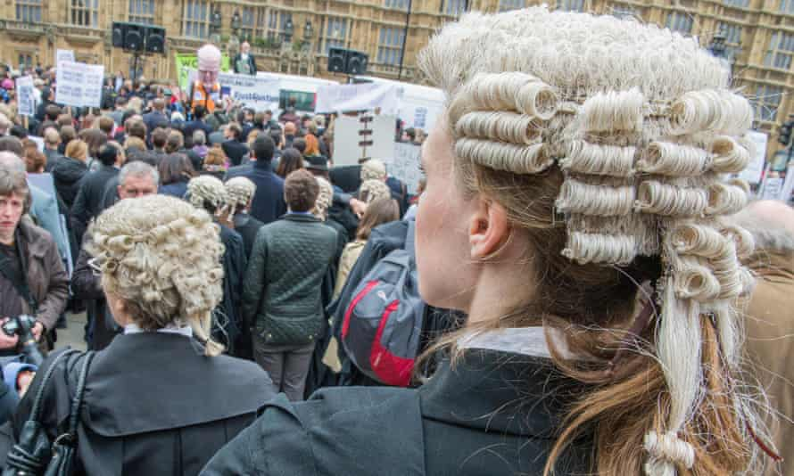 Barristers protesting against legal aid cuts, 2014.