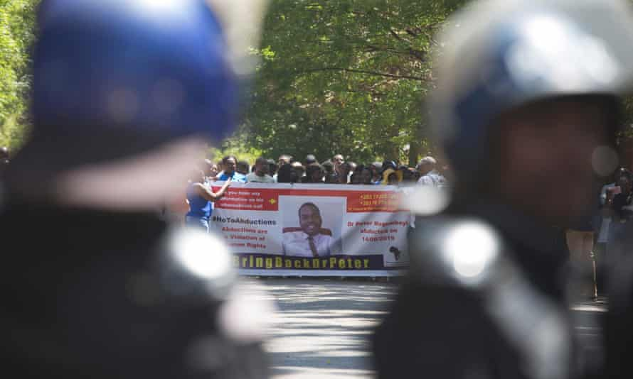 Zimbabwe riot police at a protest held in support of Magombeyi last week