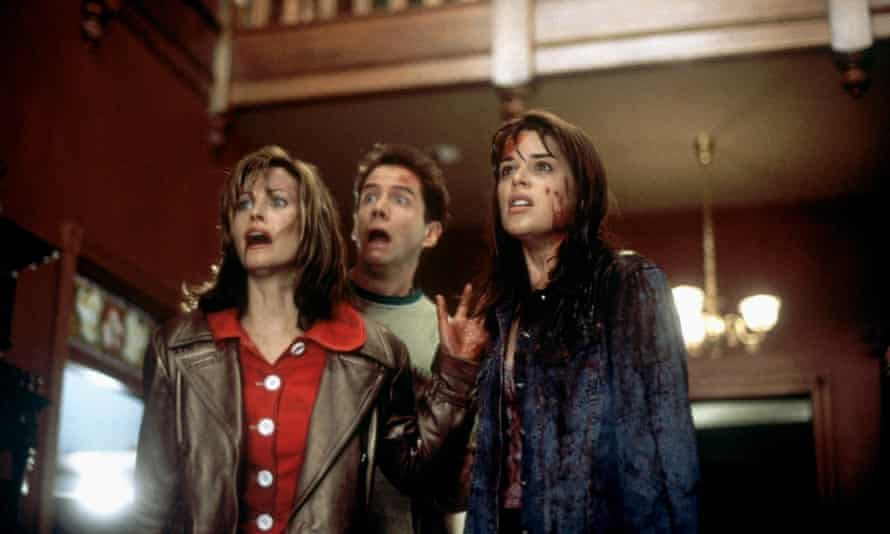 Courtney Cox, Jamie Kennedy and Neve Campbell in 1996's Scream.