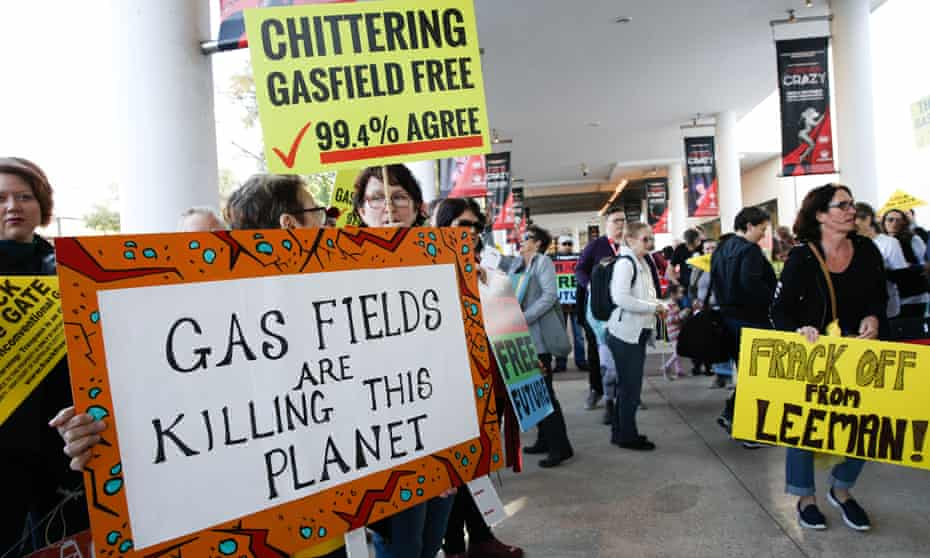 Environmental activists protest against fracking in Perth in August 2017.