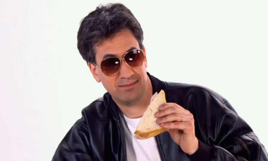 Ed Miliband holding a bacon sandwich