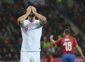 Harry Kane reacts to England's first defeat in a qualifying match in a decade.
