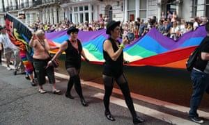Participants in a gay pride parade in Brighton.