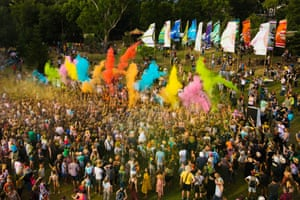The Colour of Time parade takes place daily at Womadelaide and is a homage to India's Holi festival.