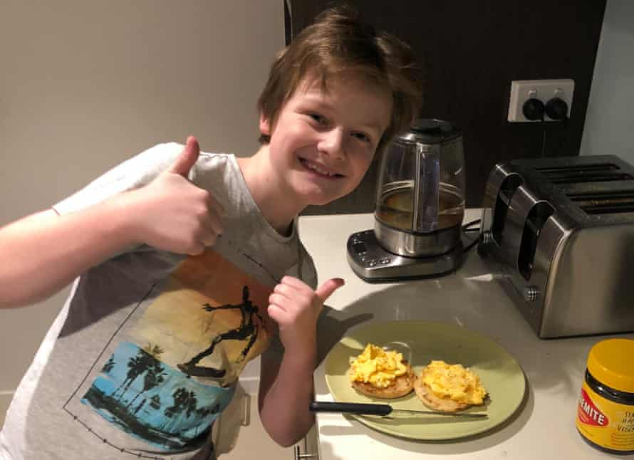 Luka with his home-made scrambled eggs.