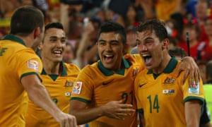 James Troisi after scoring for Australia against South Korea in Sydney. Australia has welcomed Sepp Blatter's decision to quit.