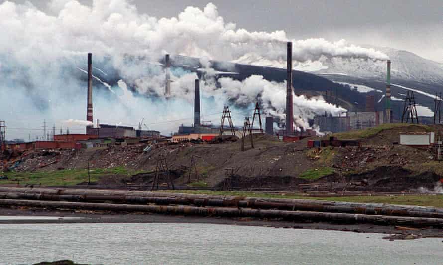 Smoke rises from the smokestacks of the Norilsk Nickel plant in Norilsk, northern Siberia.