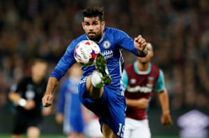 Chelsea's Diego Costa controls the ball.