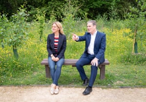 Keir Starmer with Kim Leadbeater, the Labour candidate in the Batley and Spen byelection, on a visit to the Jo Cox Community Wood in Liversedge.