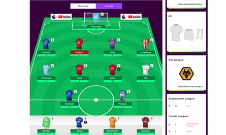 Screen grab from Fantasy Premier League website