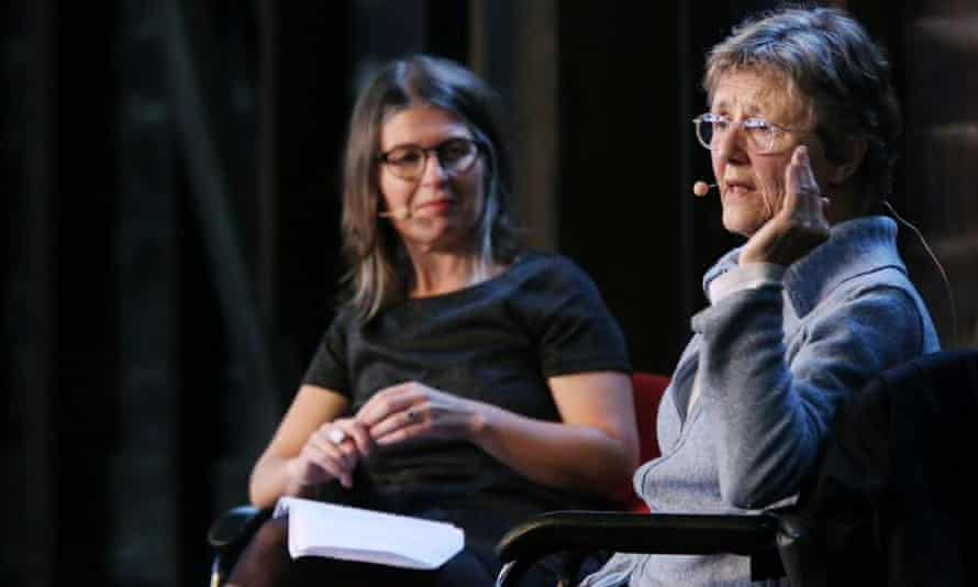 Tegan Bennett Daylight with Helen Garner during Friday's session on writing about darkness.