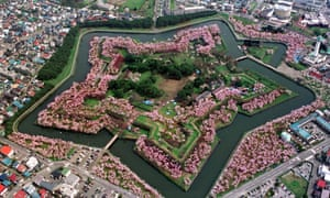 Aerial photo of cherry blossom in Hakodate on Japan's northern island of Hokkaido.