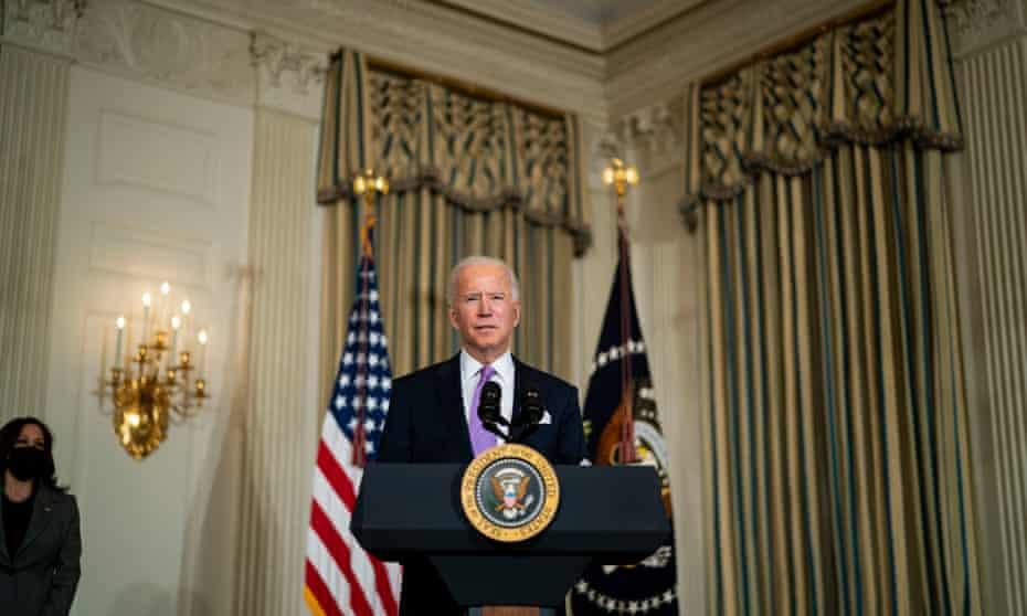 Joe Biden at the White House on 26 January.