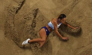 Johnson-Thompson competes in the long jump in Doha.