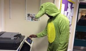 Crocodile and photocopier