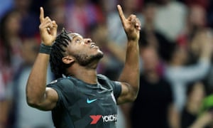 Michy Batshuayi celebrates scoring the winner against Atlético Madrid in the Champions League.