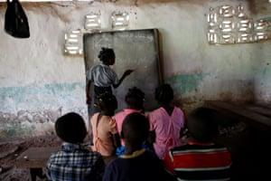 Children attend a class at the school at a Baptist church in Boucan Ferdinand