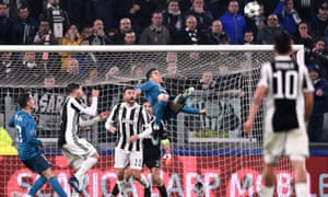 Cristiano Ronaldo shapes to volley the astonishing overhead kick that put Real 2-0 up in Turin.