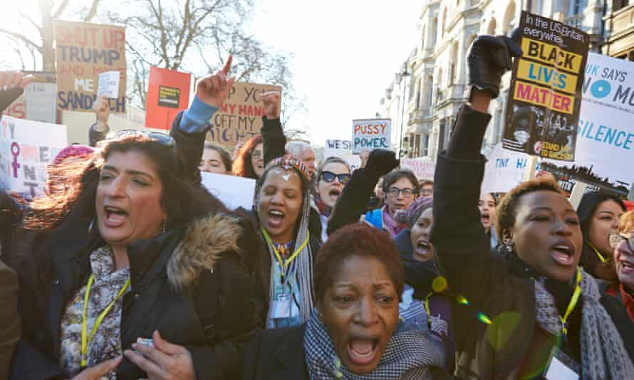 Scene at the Women's March, London