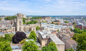 The Bristol skyline with Bristol University's Wills Memorial Building in the foreground
