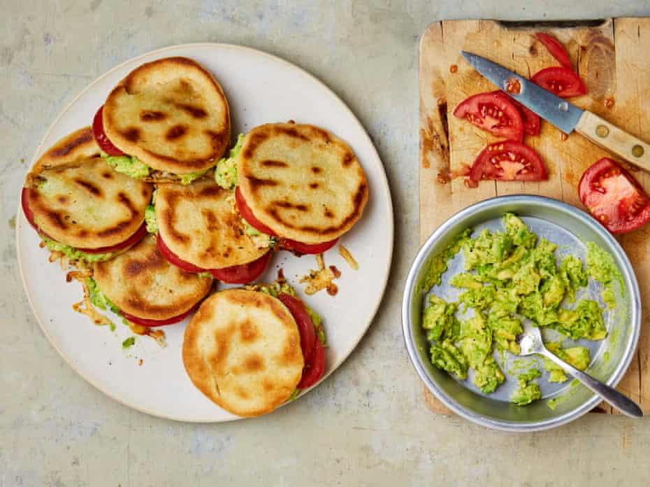 Yotam Ottolenghi's arepas (stuffed cornmeal cakes) with feta, cascabel and smashed avocado.