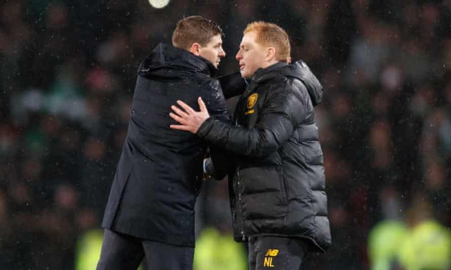 Steven Gerrard (left) will be keenly aware of the wider importance of the game against Neil Lennon's high-flying Celtic side.