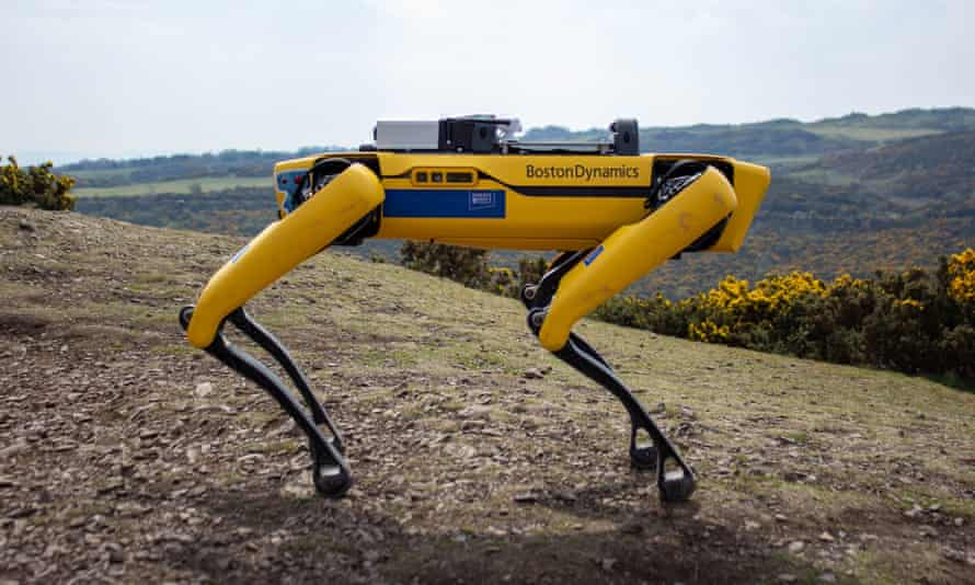 Spot the AI dog is a nimble robot that can scoot over uneven surfaces, carrying up to 14kg of equipment.