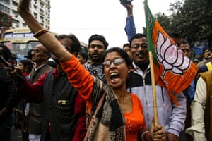 Kolkata, India Supporters and leaders of India's ruling Bharatiya Janata party shout slogans during a rally supporting a new citizenship law which excludes Muslims, and that opponents say threatens India's secular identity.