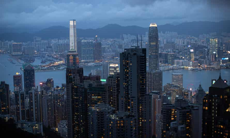 Kowloon and Hong Kong island, seen from a viewing platform overlooking Victoria Harbour.