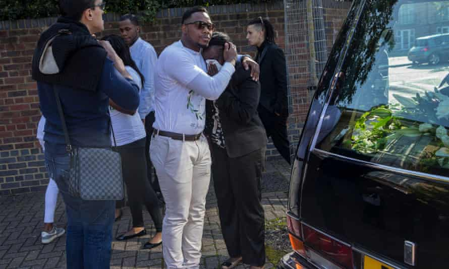 The vigil before the funeral of Edson Da Costa on the Woodcocks estate in Beckton, east London.