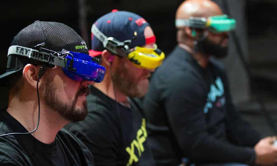 Pilots steer their craft in the the Drone Racing League.