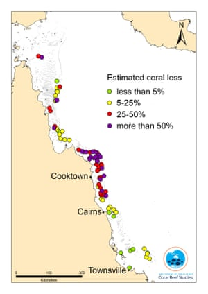 Map of estimated coral loss on the Great Barrier Reef in June 2016, Australia.